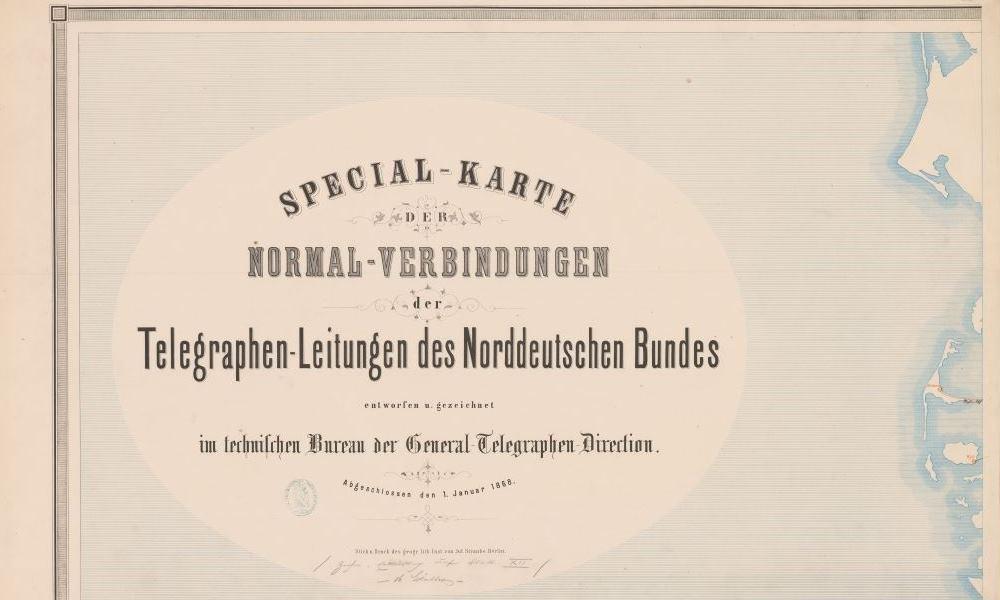 Telegrafenkarte des Norddeutschen Bundes (Titelblatt), 1868