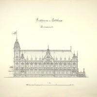 Aufriss der Hauptfassade des Kaiserlichen Post- und Telegrafengebäudes in Cottbus, Federzeichnung 1891