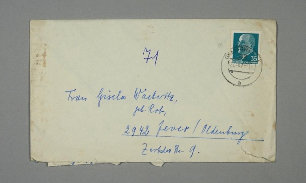 Umschlag, von Kob (Greifswald) nach Wackwitz (Jever/ Friesland), Deutsch-deutscher Briefwechsel, 1971