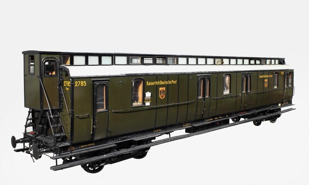 Modell, Bahnpostwagen 2785 mit Schutzabteilen, Gattung IV a, Kaiserliche Reichspost