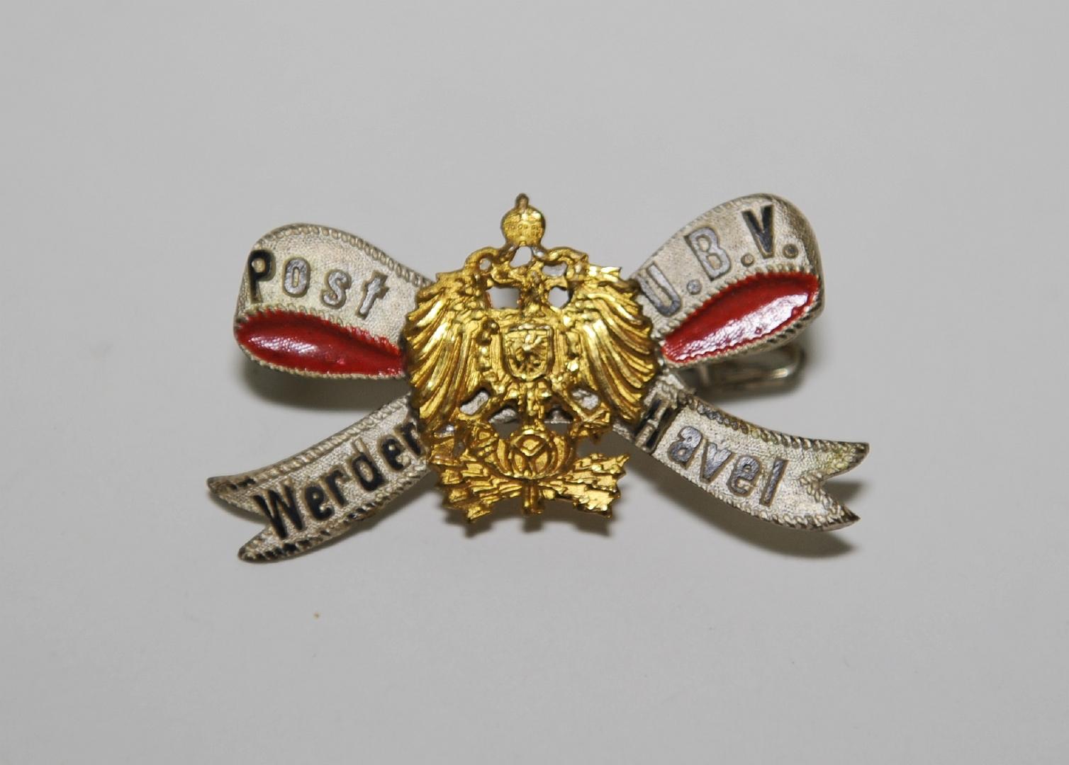 Anstecknadel des Postunterbeamtenvereins Werder/Havel, 1898 bis 1918