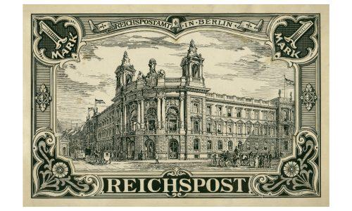 Originalentwurf für die Briefmarke Deutsches Reich MiNr. 113 mit Motiv des Reichspostamts in Berlin.