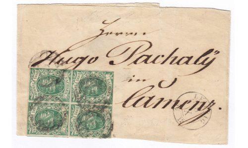 Streifband mit einem Viererblock Sachsen MiNr. 2, von Leipzig nach Kamenz gesandt.