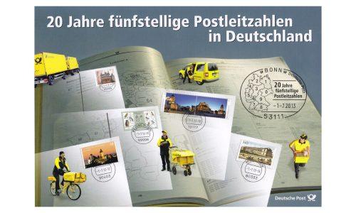 """Gedenkset der Deutschen Post zum Thema """"20 Jahre fuenfstellige Postleitzahlen in Deutschland"""" aus dem Jahr 2013."""