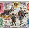 """Das Sammelbild Nr. 2 """"Die Post in Österreich. Tirol"""" wurde von der Firma Rud. Herrmann`s Seifen herausgegeben und zeigt eine landestypische Postszene."""