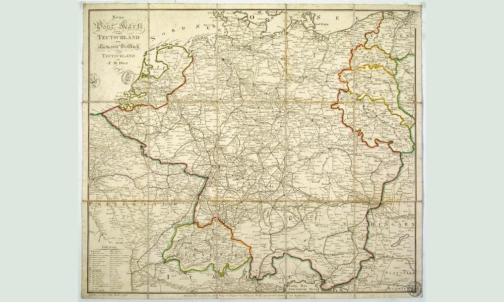 Postkurskarte von Deutschland, nach 1730