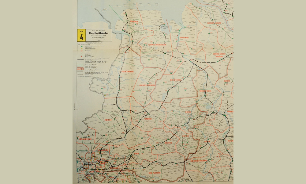 Hansen/Schmid Postleitkarte Blatt 4, 1962