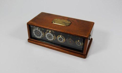 Seekabel - Kasten mit fuenf Telegrafenkabelmustern des Direct United States Cable des Unterseekabels England - USA aus dem Jahre 1874