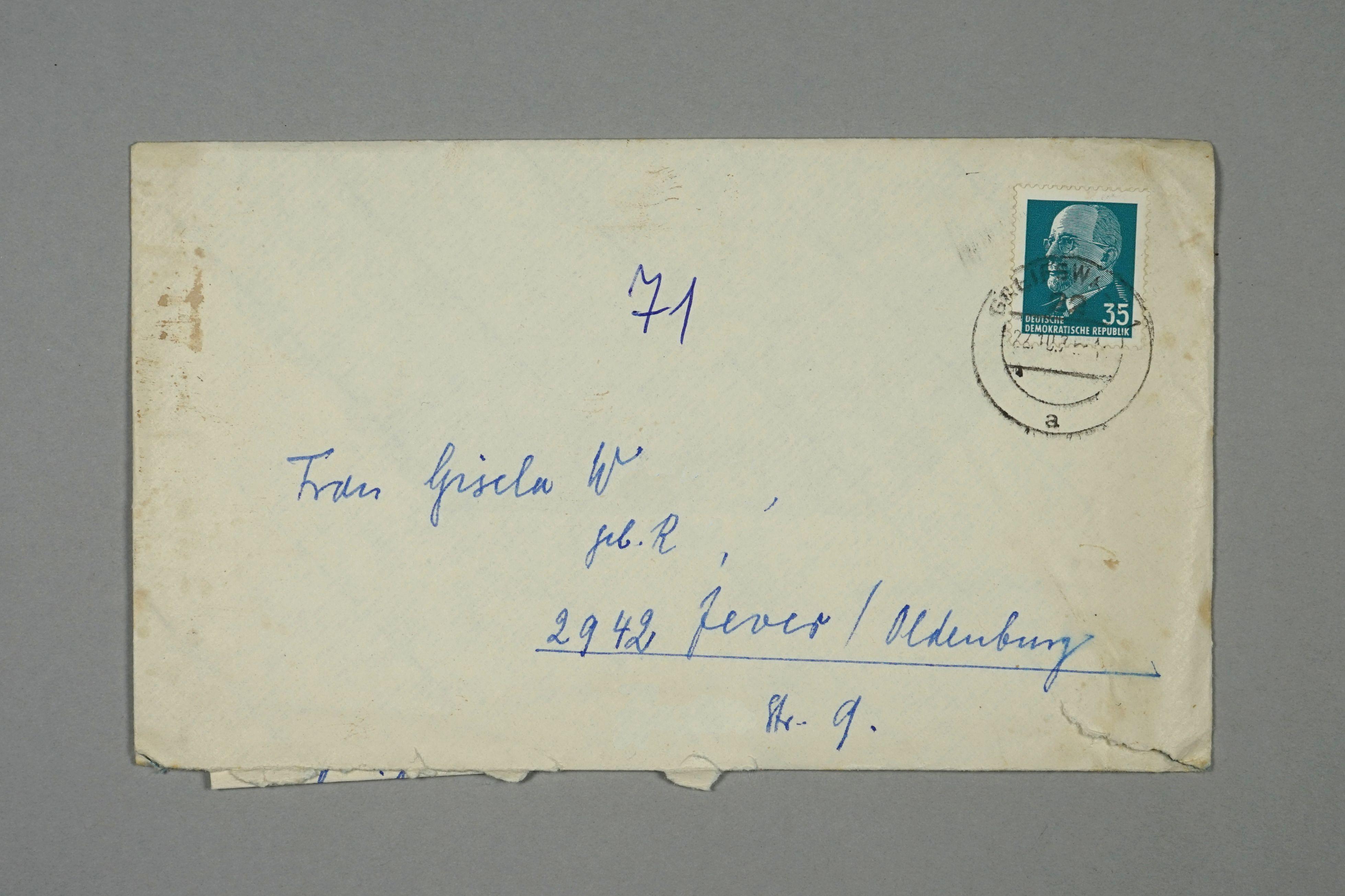 Umschlag, von Greifswald nach Jever/ Friesland, Deutsch-deutscher Briefwechsel, 1971