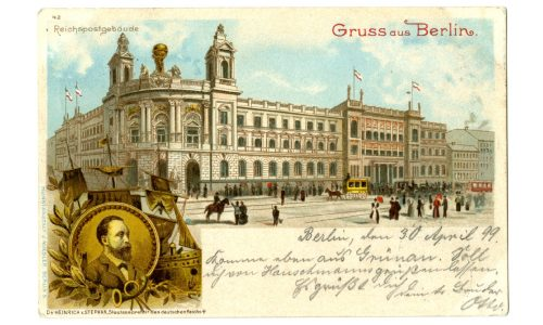 """Ansichtspostkarte; Reichspostmuseum, """"Gruss aus Berlin"""", 1899"""